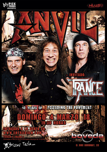 "ANVIL ""40 Years Pounding the Pavement"" + TRANCE, Barcelona"